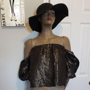 Zara Black Off Shoulder Top w/ Gold Stripes